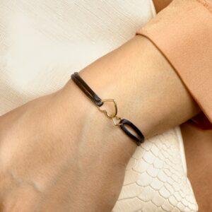 Armband satijn dubbele hartjes